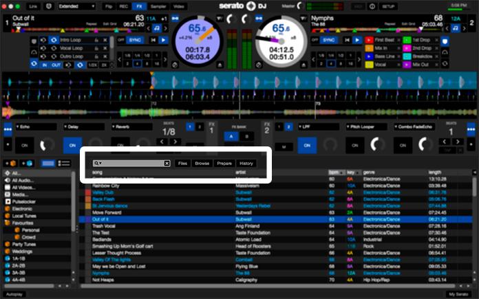 Serato DJ Re ubicación del buscador