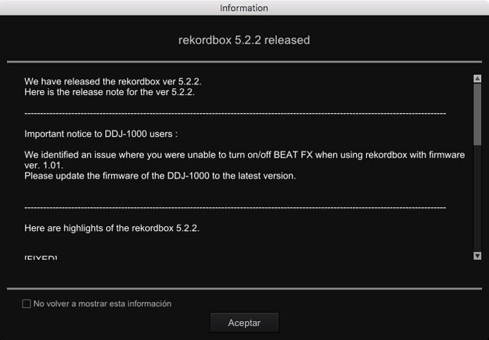 Pioneer DJ Actualización de Rekordbox 5.2.2