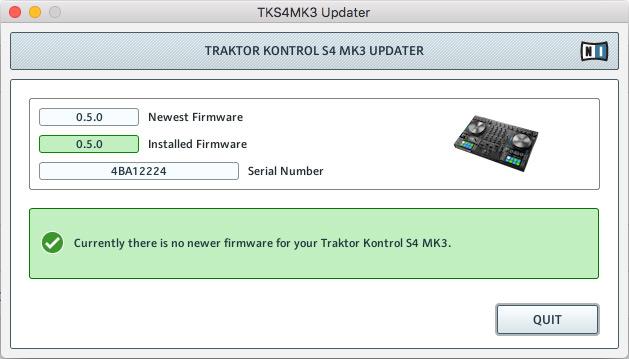 Traktor Kontrol S4 mk3 Firmware Update