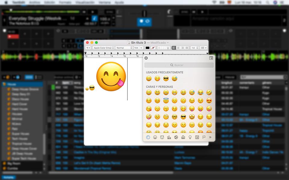 Serato DJ emojis en Mac